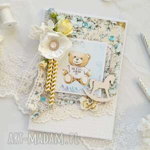 handmade scrapbooking kartki kartka dziecięca błękitna w pudełku