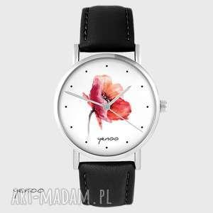 zegarki zegarek - mak skórzany, czarny, zegarek, pasek, mak, kwiat