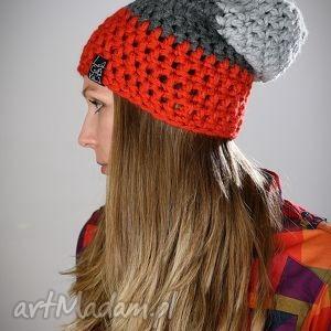 Triquence 07, czapka, zima, włóczka, szydełko, czapa, pomarańcz
