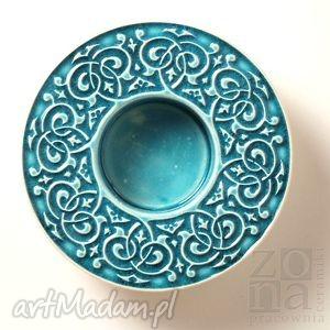 lampion barokowy, turkusowy, lampion, świecznik, ceramiczny, ornamentowy, barokowy