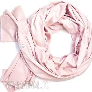 Szal szalik bawełniany pudrowy róż, damski wiosenny szaliki
