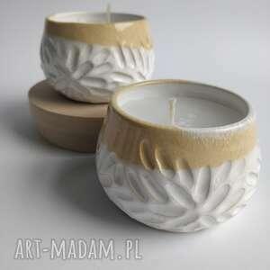 ceramika zestaw dwóch świec o delikatnym zapachu 3, prezent, ceramika, świece