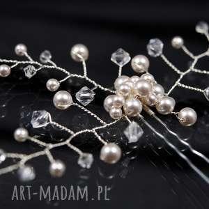 Perłowa kokówka, ozdoba, perła, ślub, kryształ, swarovski