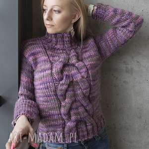 wrzosowy warkocz swetromania - fioletowe swetry, rękaw, długi