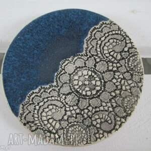 koronkowy talerzyk, fusetka, na, biżuterię, ceramiczny, podstawka