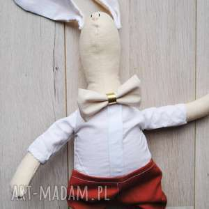 prezent na święta, maskotki pan królik, przytulanka, szmacianka, lalka, szmaciana
