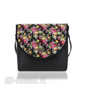 torebka puro 1728 black flowers, puro, klapkomania, pikowana, polskamarka, kwiaty na