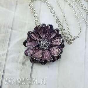 0988/mela wisiorek z żywicy kwiat fiolet/srebro, wisiorek, kwiat, retro