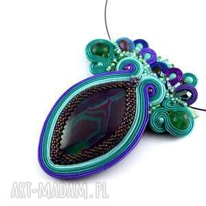 Naszyjnik z agatem - sutasz, haft koralikowy - ręcznie robione