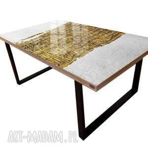 fabuloso - stół do jadalni ze złotą strukturą, stolik strukturalny, zlota