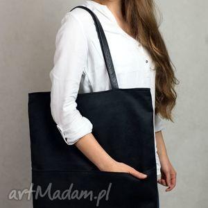 duża czarna zamszowa torba w kształcie prostokąta na ramię, torba, czarna
