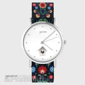 zegarek - domek dla ptaków folk czarny, nato, zegarek, bransoletka