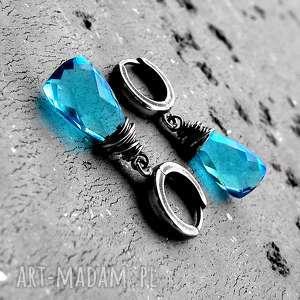 KROPLE- KOLCZYKI SREBRO I KWARC SWISS BLUE., eleganckie, nowoczesne, błekitne