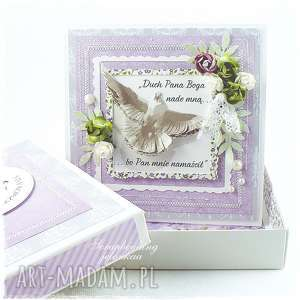bierzmowanie - kartka, bierzmowanie, sakrament, duch, pudełko, pamiątka, gołąb