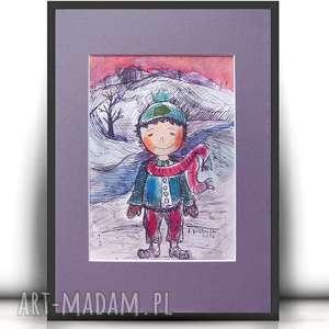obrazek z chłopcem, ręcznie malowany dla chłopca, rysunek chłopiec akwarela
