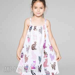 sukienka bez rękawów dla dzieci w komiksowe koty, summer, lato, dziecko