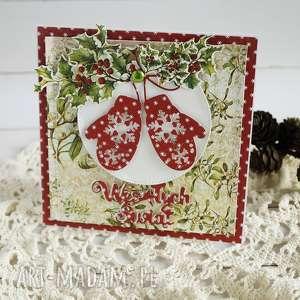 kartka z rękawicami, boże narodzenie, świąteczna, scrapbooking