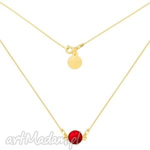 hand-made naszyjniki złoty naszyjnik z czerwonym kryształem swarovski® crystal