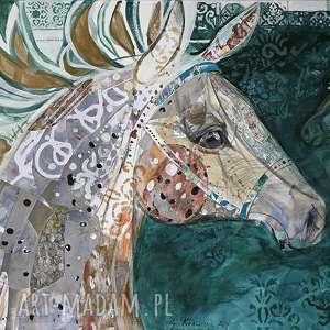 obraz ręcznie malowany na płótnie collage koń