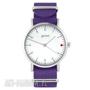 hand-made zegarki zegarek - simple biały fioletowy, nylonowy