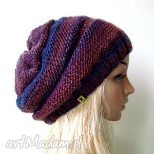 czapka we fioletach - czapka, czapeczka, uniwersalna, jesień, zima, prezent