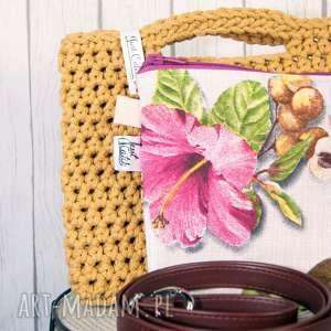looped ochra, szydełko, sznurek, bawełna, unikalny