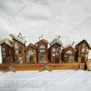 wieszak -rustykalne domki drewniane nr 2, z drewna, drewniany