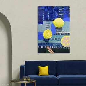 obraz dekoracyjny martwa natura z cytrynami, nowoczesny obraz, ręcznie