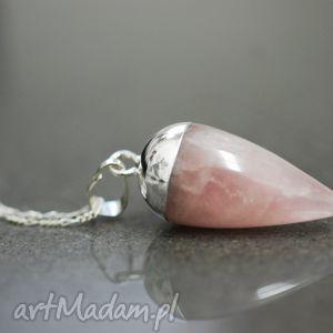 naszyjniki 925 srebrny naszyjnik różowy kwarc, medalion, łańcuszek, róż, kamień