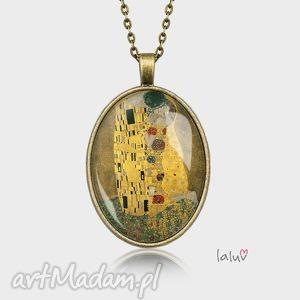 medalion owalny kiss - klimt, pocałunek, reprodukcja, obraz, prezent, romantyczny
