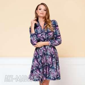 sukienka stella granatowa w kwiaty r 38 - rozkloszowana sukien, rozkloszowana, elegancka