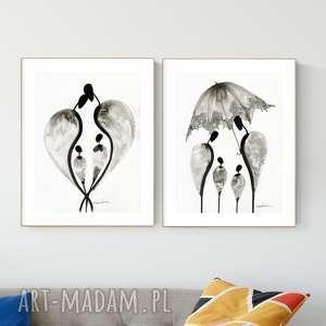zestaw 2 grafik 30x40 cm wykonanych ręcznie, abstrakcja, elegancki minimalizm, obraz