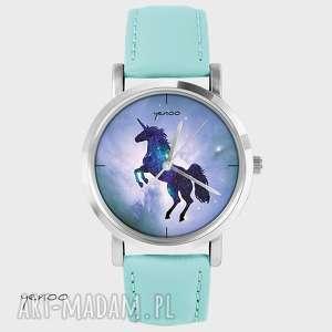 Zegarek, bransoletka - Jednorożec, unicorn turkusowy, skórzany, zegarek