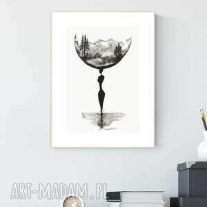 art krystyna siwek grafika a4 malowana ręcznie, abstrakcja, styl skandynawski