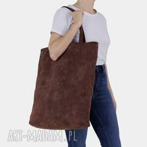 mega shopper duża torba kasztanowa na zamek / vegan, duża, ogromna, vegan