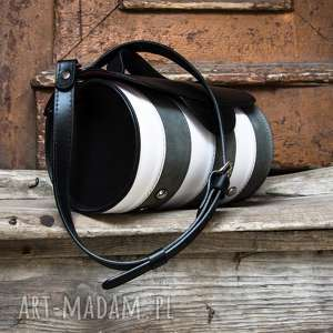 handmade na ramię okrągła skórzana torebka z zamknięciem magnes od ladybuq stylowa