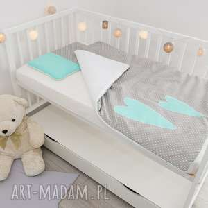 pościel do łóżeczka dwa serca mięta, w serduszka, kołderka, dla dziecka