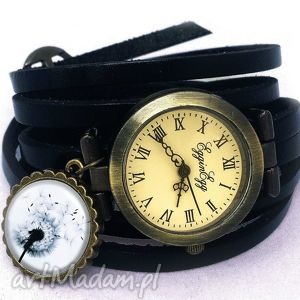 ręczne wykonanie zegarki dmuchawiec - zegarek / bransoletka na skórzanym pasku