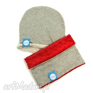 ręcznie wykonane ubranka zestaw komin czapka minky/dresówka