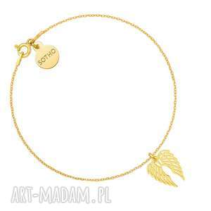 Złota bransoletka ze skrzydełkami, bransoletka, zawieszka, skrzydła, złota