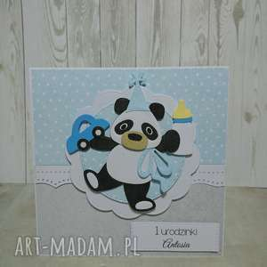 zaproszenie karta panda w urodzinowym nastroju - panda, autko, urodziny, narodziny
