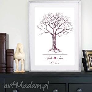 Plakat weselny - drzewo wpisów nowy design 50x70 cm, księga, gości, drzewo, ślub
