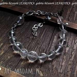 pure bransoletka z kryształu górskiego i srebra, kryształ, górski, srebro, oksydowane