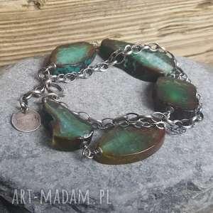 bransoletka srebrna z przepięknymi agatami - bransoletka-srebrna