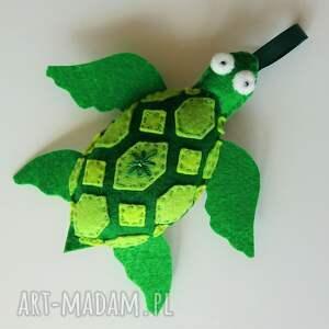 żółwik z filcu na sznureczku - zawieszka, zwierzątka morskie
