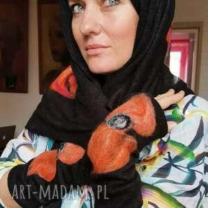 hand-made rękawiczki mitenki w kolorze czarnym filcowane wełna merynosów -prod wir