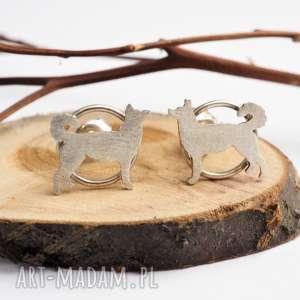 Srebrne kolczyki pies husky jachyra jewellery psy, husky