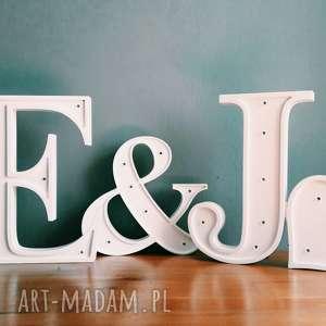 Literki ślubne , ślub, literk, typografia, lampa
