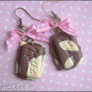 Łaciate czekoladki , czekolada, kostka, łaciata, modelina, fimo, kokardka