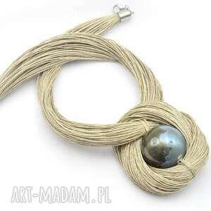 naszyjniki sznurkowy naszyjnik z ceramicznym koralem, lniany